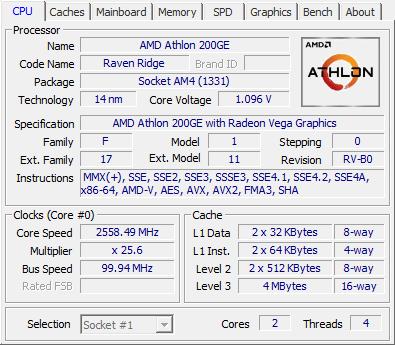 Athlon 200GE CPUZ