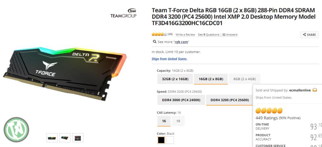 16GB Memória RAM na NEWEGG