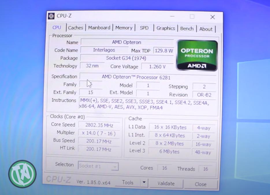 CPU-Z Opteron 6281