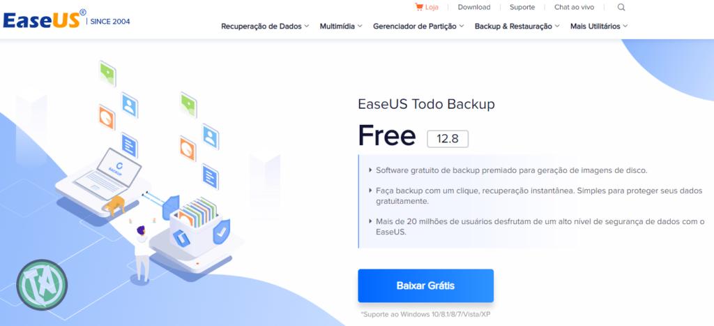 Tela de entrada do EaseUS Todo Backup Free