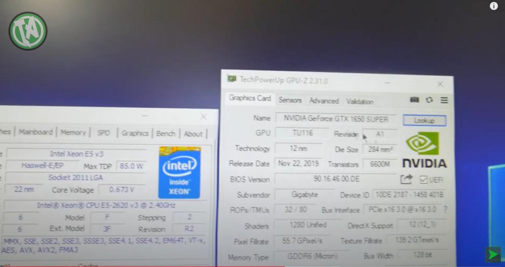 CPU-Z com o Xeon e o GPU-Z com a GTX