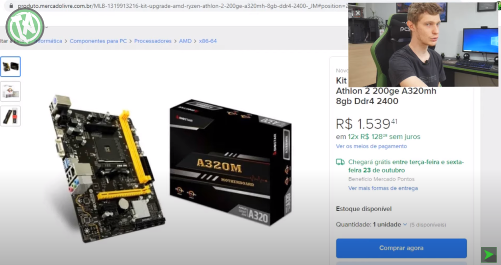 Kit AMD Athlon vendido no Mercado Livre