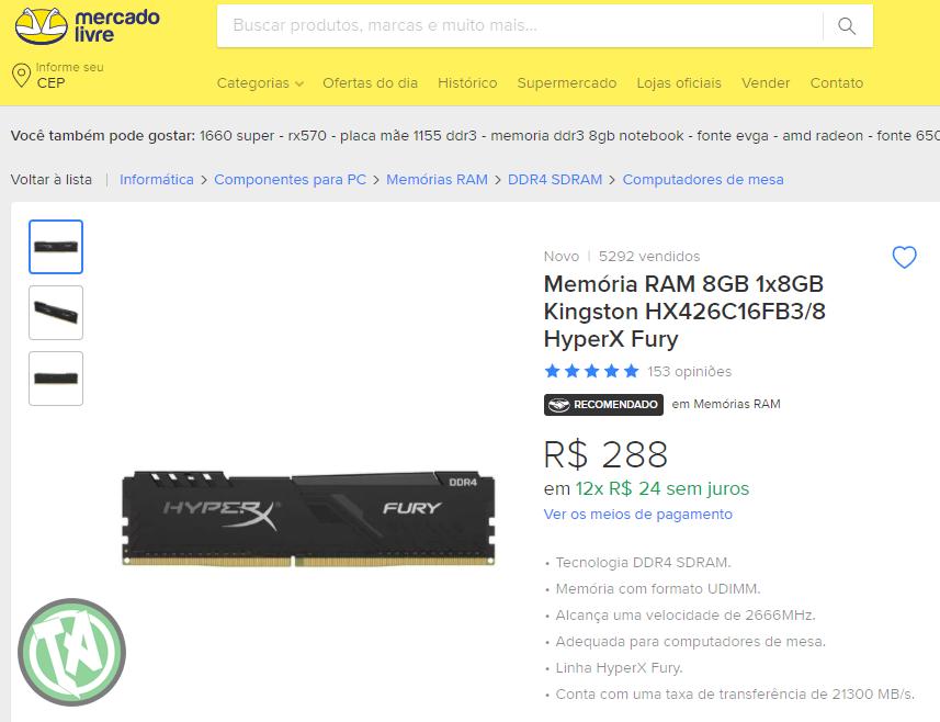 Memoria RAM DDR4 8GB no Mercado Livre