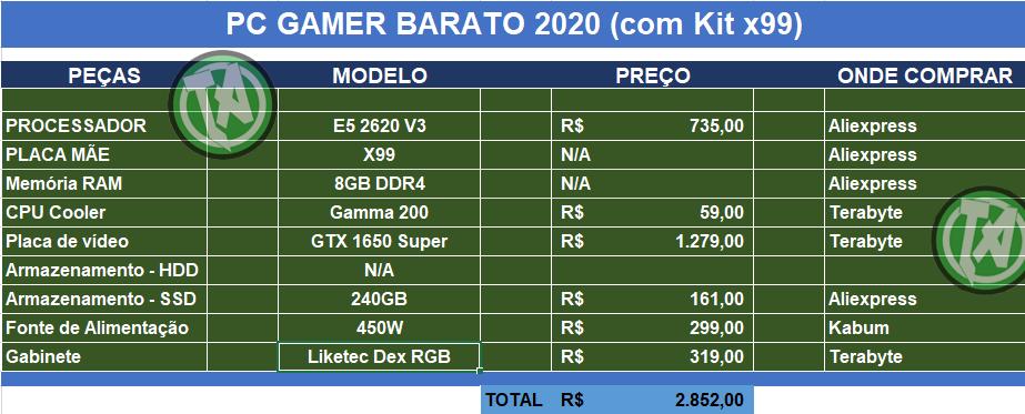 Orçamento com Kit X99