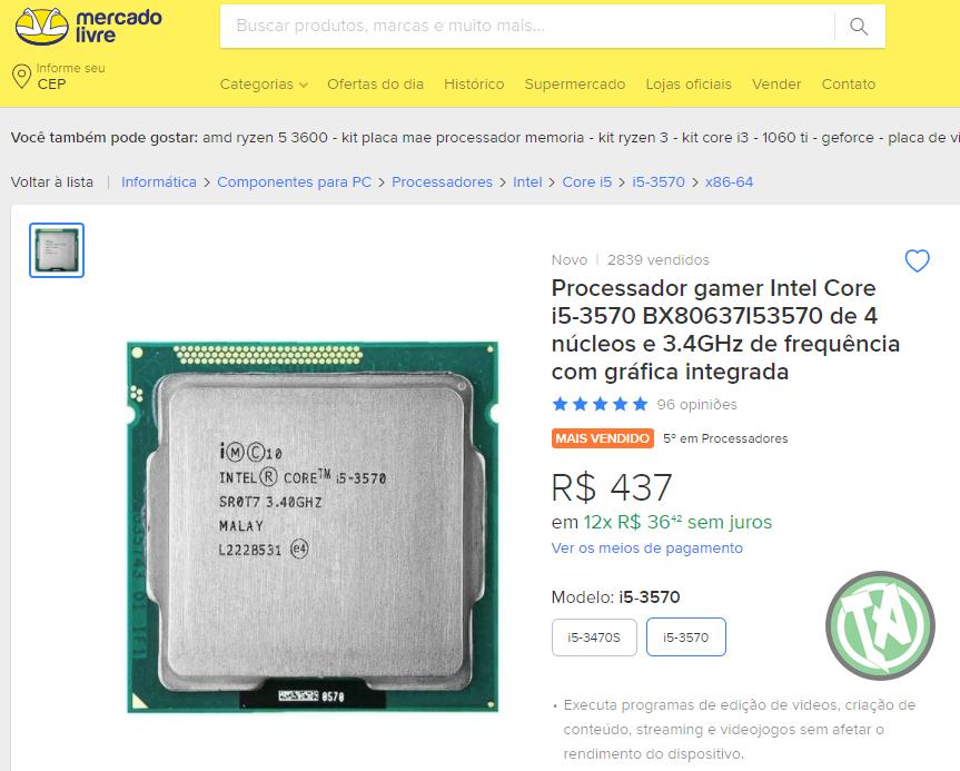 Processador Mercado Livre i5-3570