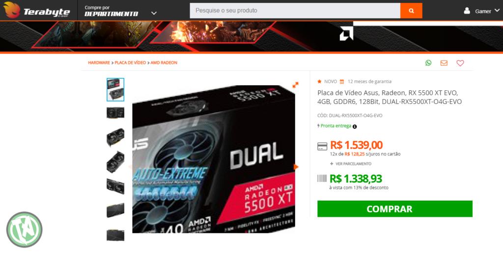 RX 5500 XT na Terabyte