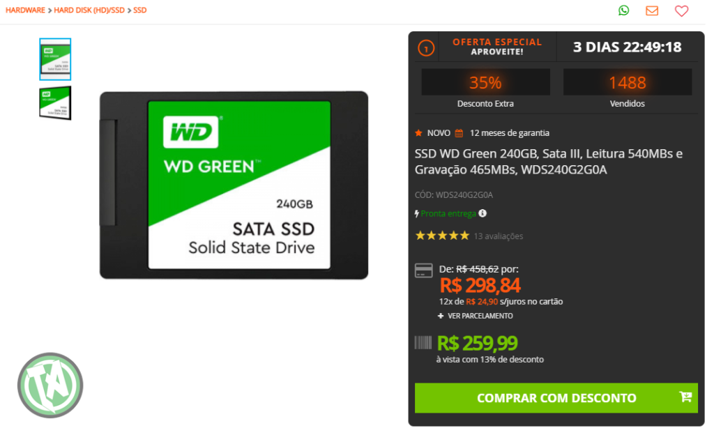 SSD de 240GB na Terabyte