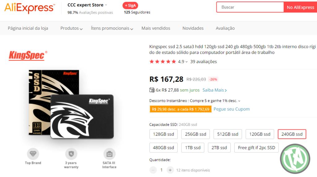 SSD de 240GB no AliExpress