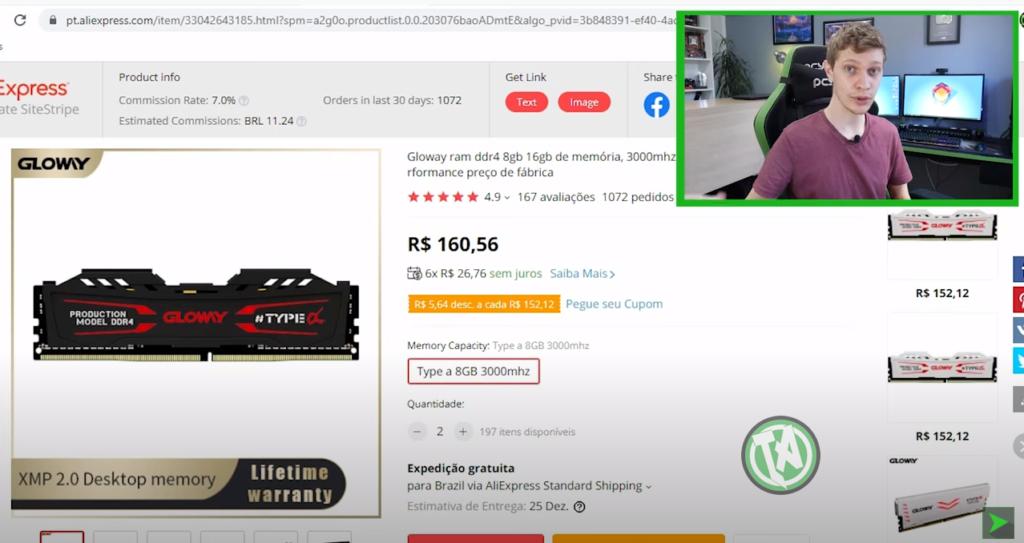 Memória RAM no AliExpress