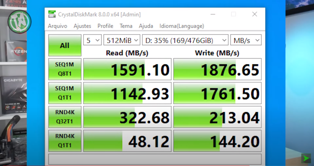 Resultado SSD M.2 NVMe