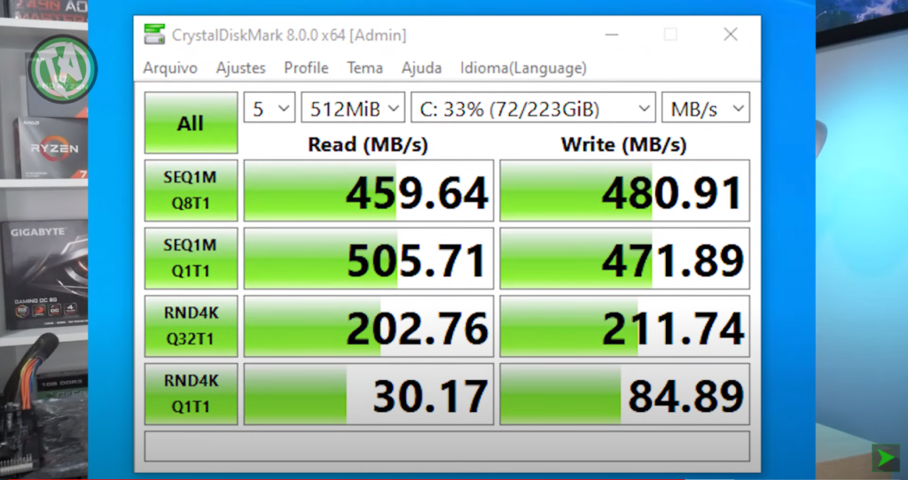 Resultado SSD SATA 3