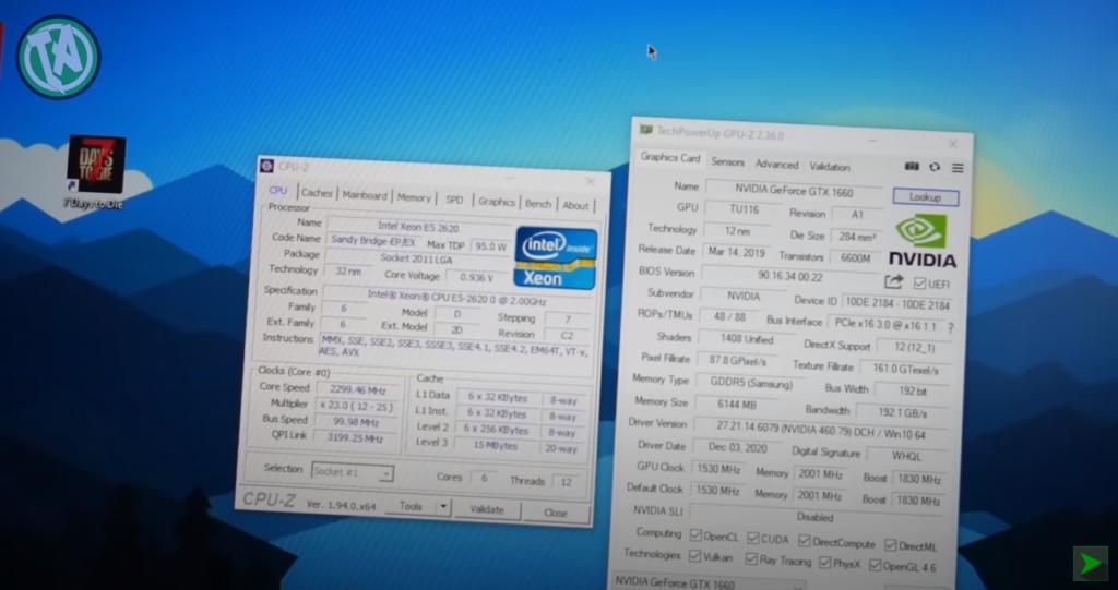 CPU-Z ligado, processador funcionando perfeitamente