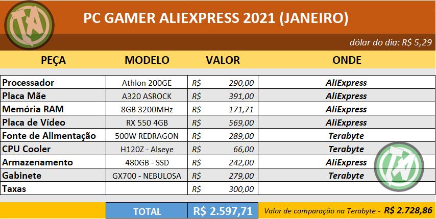 Planilha PC GAMER