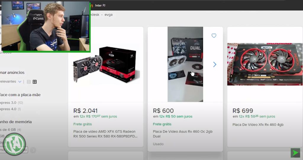 RX 460 de 4GB no Mercado Livre
