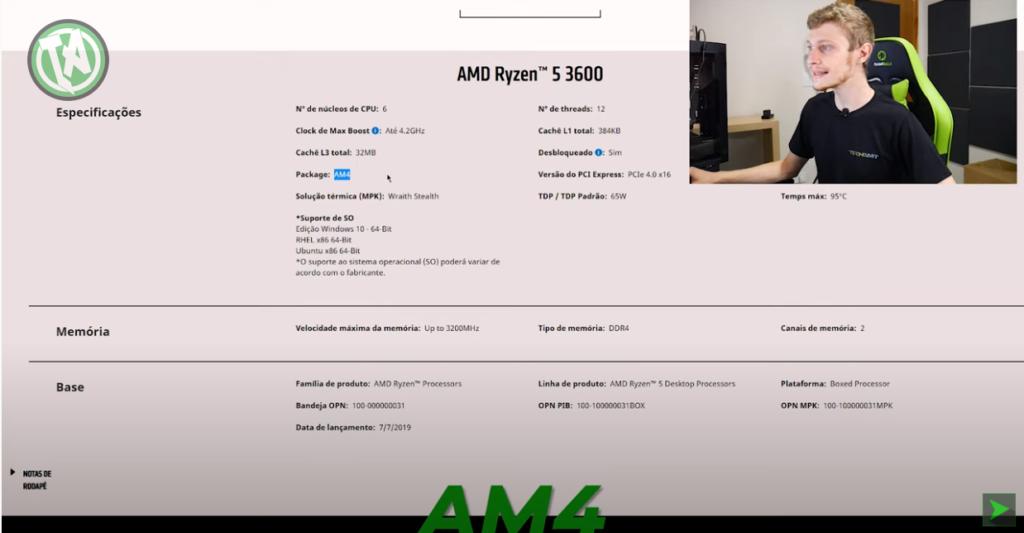 Configurações do Ryzen 5 3600 na AMD, soquete AM4