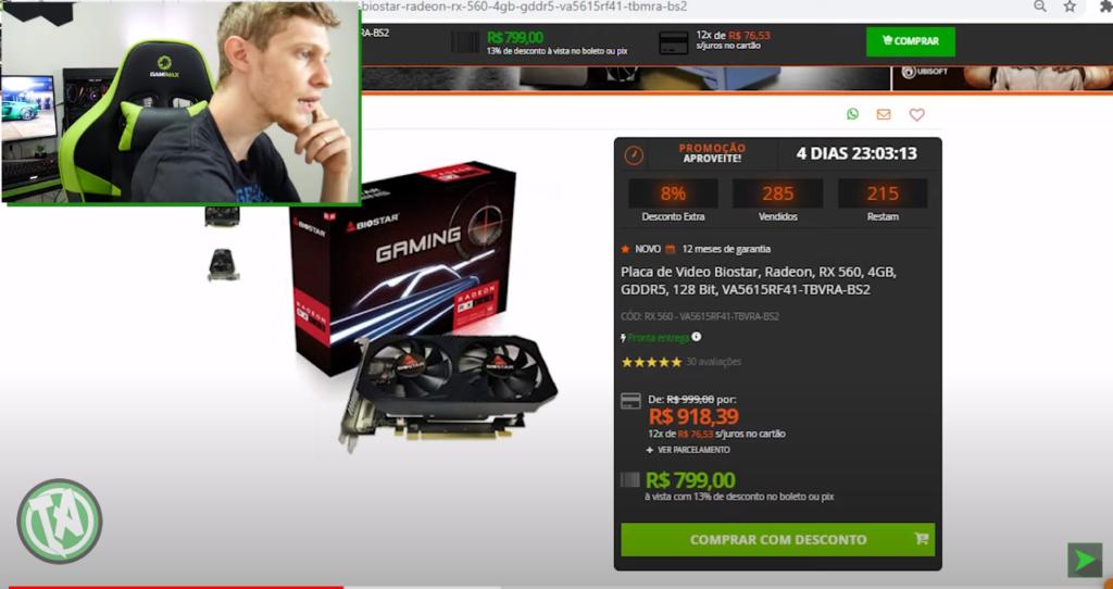Estoque antigo, a RX 560 por 800 reais