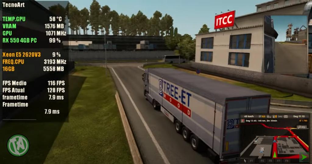 Euro Truck Simulator 2, ficou bem nesse setup