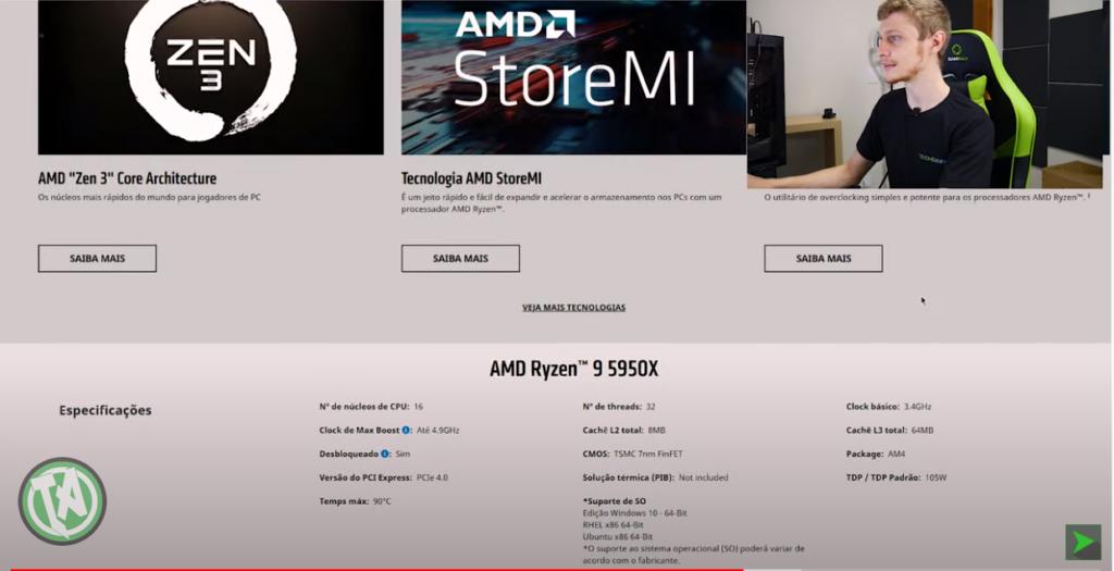 Verificando o Ryzen 9 na AMD